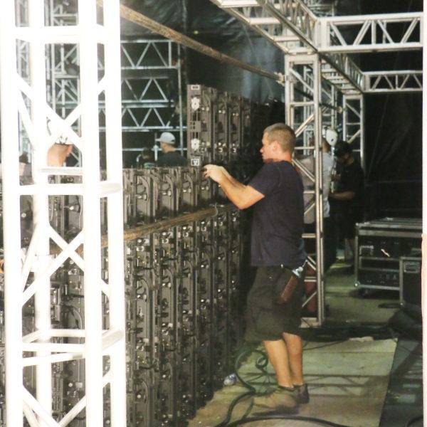Worker checking sound